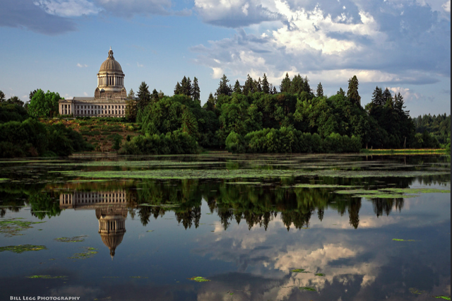 Washington State capital building across capital lake